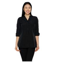 Denim & Co. Roll Tab Sleeve Button Front Soft Utility Tunic, Black, Medium - $19.79