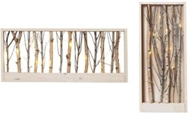 2 Set 9.85 in H Forest Lighted Wooden Wall Hanging Home Holiday Fall Dec... - $90.54