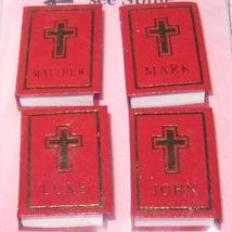 DOLLHOUSE Books 4 Gospels 3335 Red Jacqueline's Miniature - $7.61