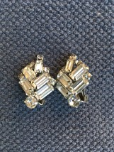 Designer Signed Vintage WEISS Icy Rhinestone Baguette Clip-On Earrings - $59.99