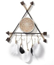 """24"""" Dreamcatcher Design Wall Decor w 3 Interconnecting Arrows, Hanging Feathers"""