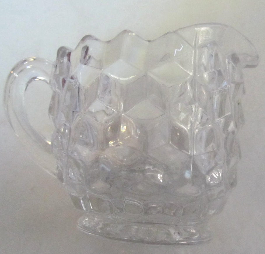 Vintage Indiana Glass Whitehall Pattern Clear Glass Mini Sugar & Milk Container