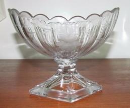 Rare Heisey Pressed/Cut Diamond Pedestal Foot Compote  - $42.50