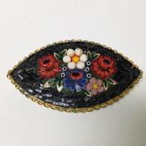 Vintage, Rare, Multi color, Mosaic Tiles, Floral Brooch 2.5in x 1.25in - $17.05