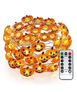 Brizled Pumpkin Halloween String Lights, 40 LED 13.12ft 8 Modes Battery ... - £15.88 GBP