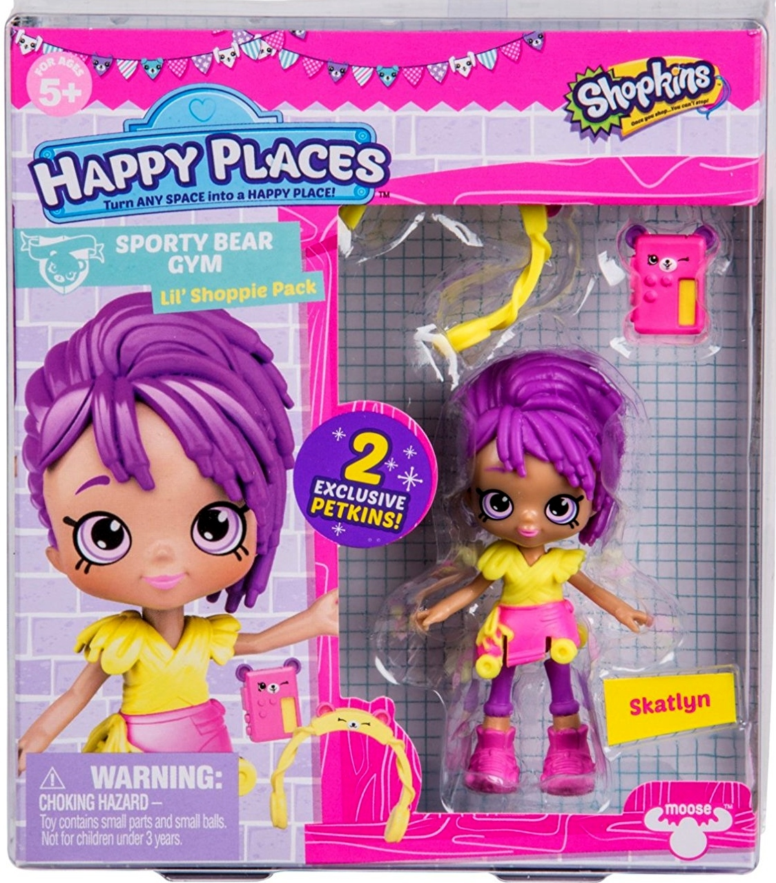 Shopkins Happy Places Skatlyn & 2 exclusive Petkins Lil' Shoppie Pack S3