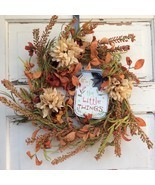 AG Designs Fall Harvest Decor - Floral Wreath –Mason Jar ENJOY the Littl... - £30.70 GBP