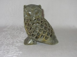 Vintage Hand Carved Natural Stone Soapstone Figurine Owl w Baby Inside S... - $29.69