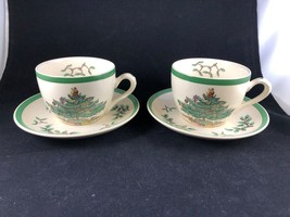 Set of Two 2 Spode Christmas Tree Teacup and Saucer S3324 - Made in England - $23.75