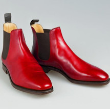 Handmade Men's Red Leather High Ankle Chelsea Leather Boots image 1
