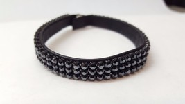 LEATHER Bracelet Black Crystal  Retired DANIEL SWAROVSKI PARIS Narrow 3 ... - $45.70