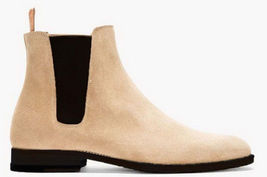 Handmade Men's Beige High Ankle Chelsea Suede Boots image 3
