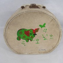 Vtg 50s Neevel Hat Box Doll Travel Suitcase Carrying Case Pig Childrens - $18.52