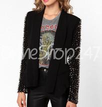 Philip Plein Woman Black Full Spiked Studded On Sleeves Blazer Leather Coat - $329.99