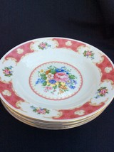 Rose Soup Plates, Pink Gold China, Set of (4) - $27.66