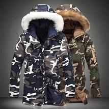 Camouflage Down Jacket Men's Winter Warm Padded Hooded Casual Coats