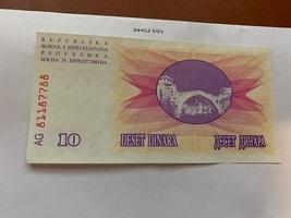 Bosnia 10 dinara uncirc. banknote 1992 #6 - $4.00