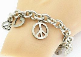 925 Sterling Silver - Vintage Love Heart Peace Sign Charm Chain Bracelet... - $154.38