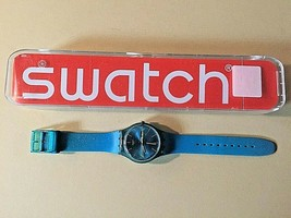 Swatch Originals Rebel Turquoise Dial Silicone Strap Watch SUOL700 (no d... - $37.61