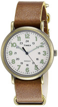 Timex TW2P85700 Weekender Men's Antiqued Brass Analog Watch Brown Leathe... - $44.97