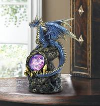 FIERCE BLUE DRAGON on Rocks Statue with Lighted Medallion - $28.84