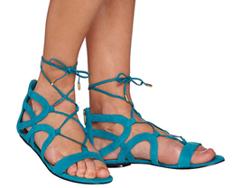 Marc Fisher Suede Lace-up Sandals - Kapre Turquoise 9 M - $29.69