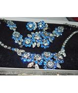 Fabulous Austrian Possibly Schoffel 3 Piece Parure Blue Clear Rhinestones - $399.99
