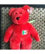 TY Osito Beanie Buddy Mexican Mexico Flag Red Teddy Bear Plush Stuffed A... - $39.99