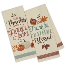 Give Thanks With a Grateful Heart Dish Towels Set of 2 New Thankful 100%... - $19.79