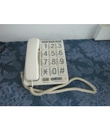 Large Number Big Button Telephone Handset White Home Phone Memory Call L... - $19.82