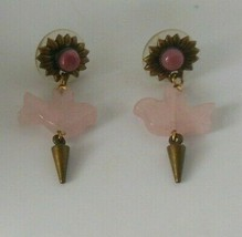 Vintage rose quartz DOVE BIRD Pierced Dangle Earrings - $24.74