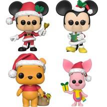 NEW SEALED Funko Pop Figure Disney Christmas Set / 4 Mickey Minnie Winnie Piglet - $74.24
