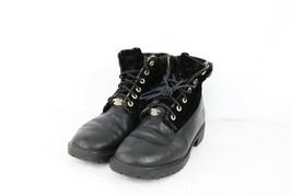 Timberland Damen Größe 8 Schwarz Velvet Rolle Down Leder Stiefel Streetwear - $79.36