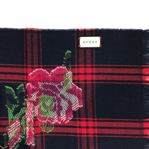 NEW/AUTHENTIC Gucci 100% Wool Tartan Roses Scarf, Multicolor - $289.00