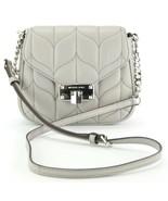 Michael Kors Peyton Quilted Leather Cross Body Bag Small Handbag Grey RR... - $328.42