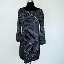 Nic + Zoe Black White Knit Bell Sleeve Shift Dress Petite S - $29.69