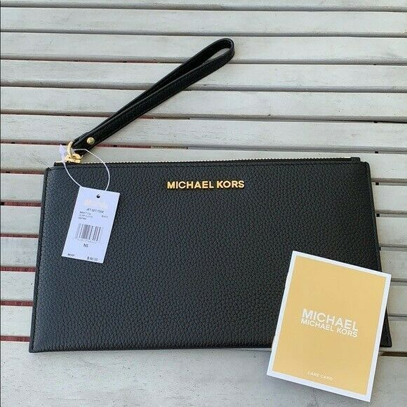 Primary image for New Michael Kors Jet Set Large Zip Clutch Leather Wallet--Black