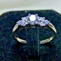 10K White Gold Swarovski Zirconia 7 Stone Engagement Ring Sz 6.75 RL Signed - $129.99