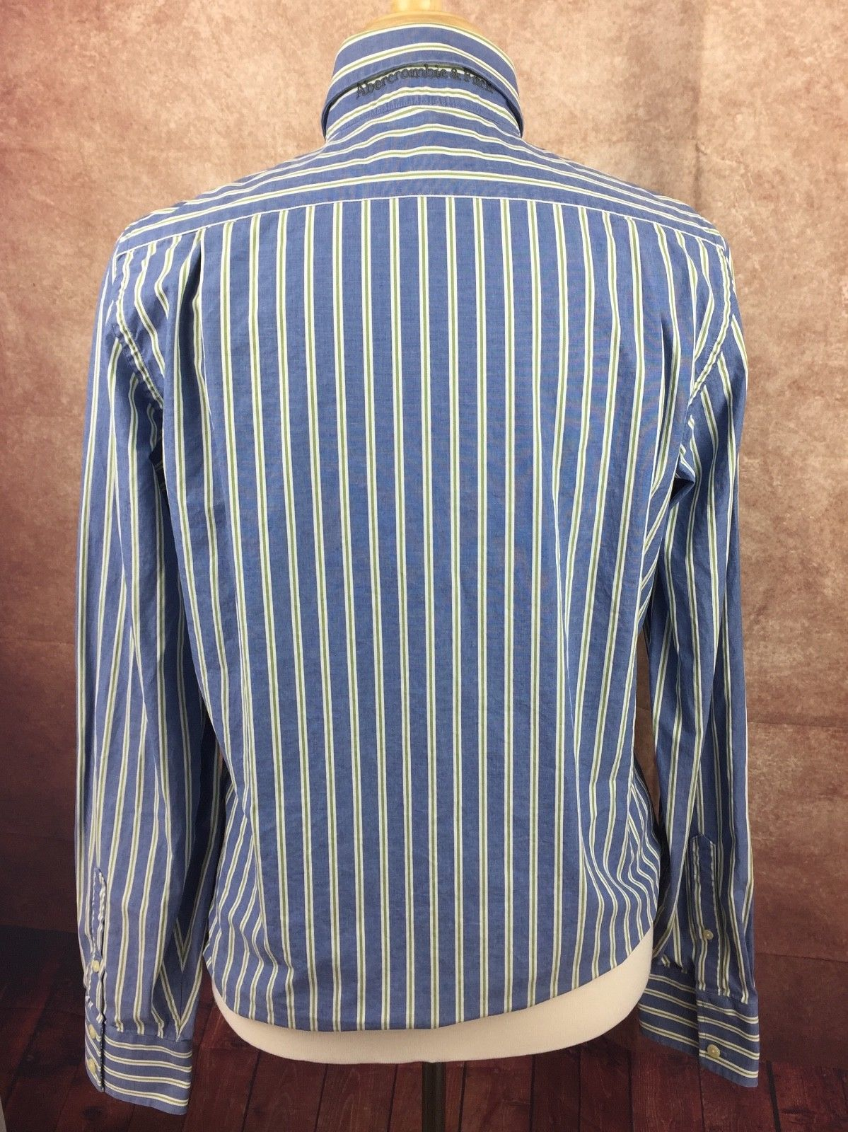 Abercrombie & Fitch Muscle Long Sleeve Button Down Shirt Blue Stripe Men's Large image 5