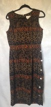 Miss Dorby Dress Women's Size 14  Black Brown Green Animal Print Modest ... - $18.47