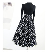Women Black Pleated Skirt High Waist Black Party Skirt Pleated Long Skirt Plus