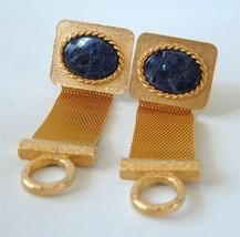 DANTE Gold Mesh Wrap Cufflinks Blue Stone Lapis Sodalite Vintage - $24.74