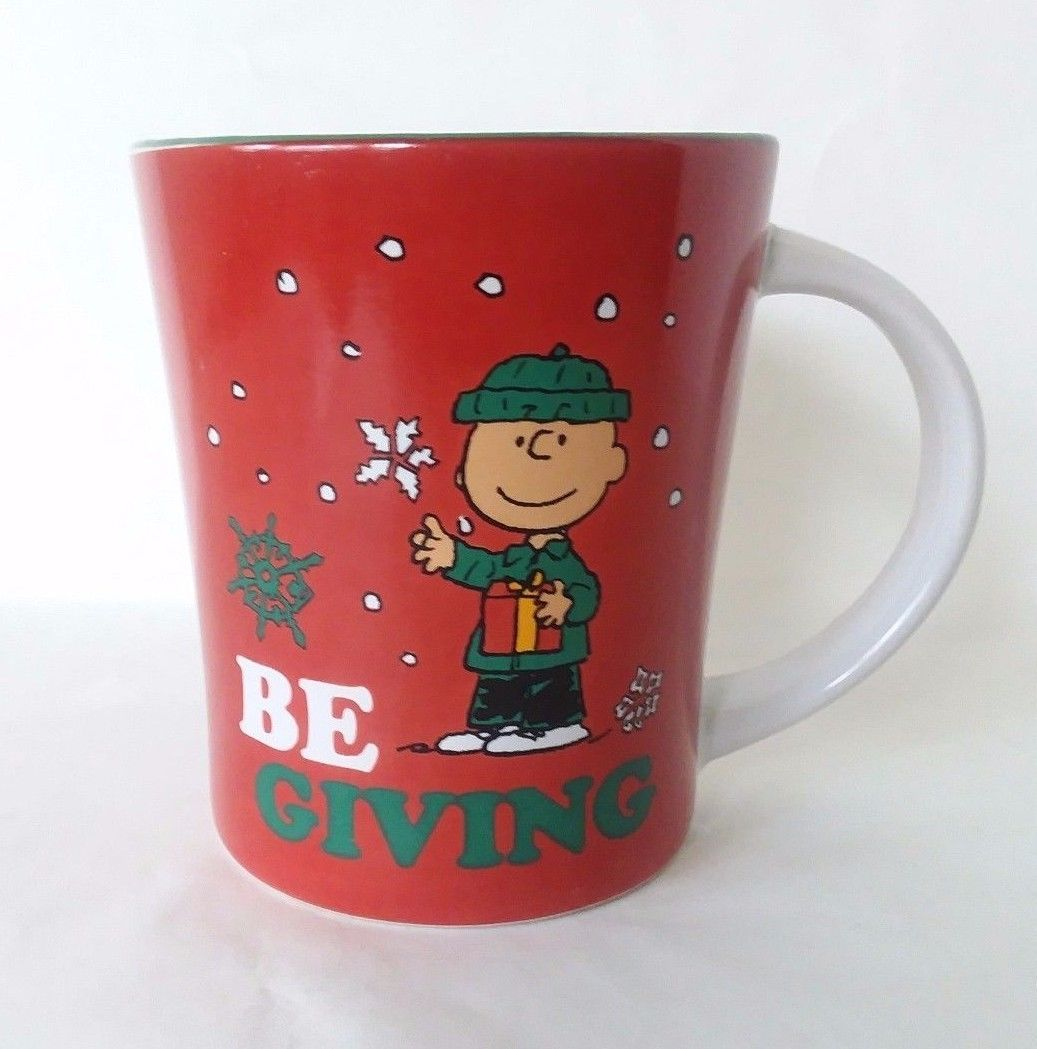 Gibson Peanuts Charlie Brown Christmas Be Giving Coffee Mug Red White Green 15oz
