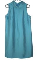 NWT Talbots 8 Cocktail Shift Dress Silk Dupioni Blue Cowl Neck - $29.69