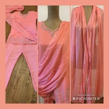 3 Piece Dolly Creation Outfit Peach Pants Top Shawl Ethnic Embellished EUC - $15.83