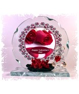 Red Roses Cut Glass Round Plaque Valentine Sweetheart Limited Unique  #1 - $32.07