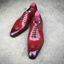 Handmade Men Burgundy Heart Medallion Lace Up Dress/Formal Oxford Leather Shoes image 1
