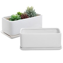 10 inch White Ceramic Rectangular Succulent Planter Pots with Removable ... - $47.50