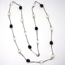 925 Silver Necklace, Pearls, nuggets black and transparent, Length 85 cm image 2