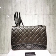 AUTH CHANEL QUILTED LAMBSKIN LEATHER MAXI CLASSIC DOUBLE  FLAP BAG SHW image 1